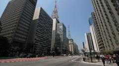 Buildings In Urban District. Paulista avenue, Sao Paulo. Brazil Stock Footage