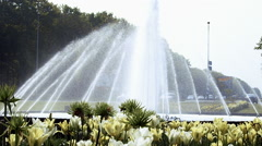 Slow motion fountain and cars Stock Footage