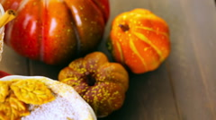 Homemade pumpkin pies with Autumn stamped leafs. Stock Footage