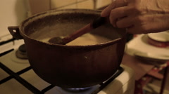 Mixing Traditional Polenta Stock Footage