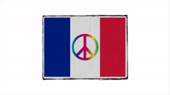 Flag of France with symbol of peace rainbow. Stock Footage