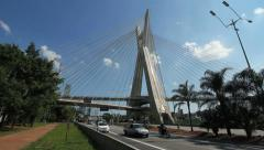 Ponte Estaiada Bridge. Pinheiros River, Sao Paulo, Brazil. Traffic. Stock Footage