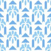 Blue ikat seamless vector pattern. Textile fabric design Stock Illustration