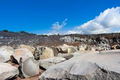 Stock Photo of The volcanic rocks in a sicilian quarry.