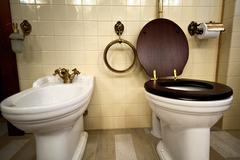Interior of luxury vintage bathroom Stock Photos