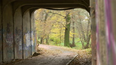 Rack Focus in Grunge Park Tunnel Stock Footage