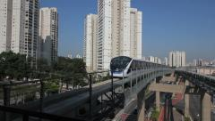 SAO PAULO, BRAZIL Monorail, Zona Leste. Urban transportation, train station - 4 Stock Footage