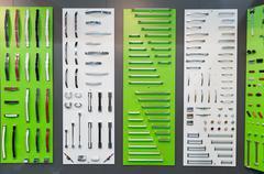 Big range of metal handles - stock photo
