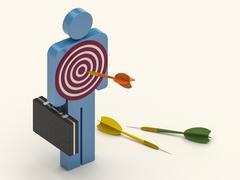 Darts Hitting the Businessman Stock Illustration