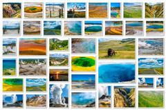 Yellowstone landmarks collage - stock photo