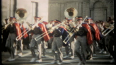 2806 marching band in holiday parade - vintage film home movie Stock Footage