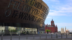 Good establishing shot of the Millennium Center in Cardiff, Wales. Stock Footage