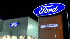 Ford automobile dealership sign. Stock Footage
