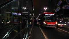 Sao Paulo, Brazil. Paulista avenue, night traffic. Consolacao Station. Metro Bus Stock Footage
