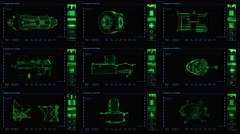 Nine-panel display of modular elements with related readouts/indicators. Stock Footage