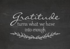 Stock Illustration of gratitude quote on chalkboard