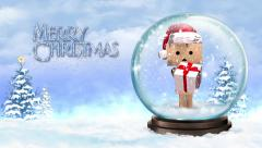 Cardboard Character in a Snow Globe Merry Christmas Stock Footage