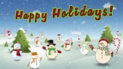 Happy Snow People Happy Holidays Loop - stock footage