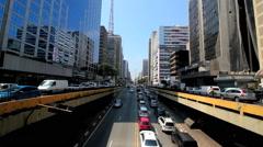 Time lapse of avenida Paulista avenue, Sao Paulo, Brazil. Rush hour - stock footage