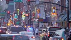 Crowded Tourist Street Nashville Broadway Shallow Depth Stock Footage