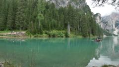 Mountain Lake Lago Di Braies Panorama Stock Footage