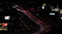 Traffic jam on the Freeway at Night. Stock Footage