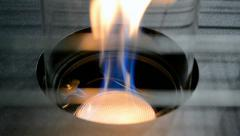 Gas-stove flame closeup, propane power. Stock Footage