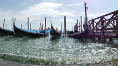 Gondolas Moored In The Lagoon in 4K Stock Footage