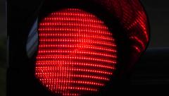 traffic light - red, close up - stock footage