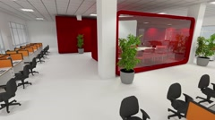 Open office animation with meeting room and tea kitchen Stock Footage