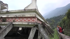 School ruins in wenchuan National Earthquake Memorial Museum Stock Footage
