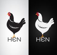 Vector image of an hen design on white background and black background, Logo, - stock illustration