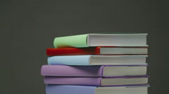 Stacked Books Turning Stock Footage