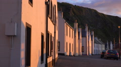 The small Scottish fishing village of Pennan at sunset. Stock Footage
