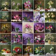 Collage from still lifes with bouquets. Packing, calendar, advertizing, label Stock Photos