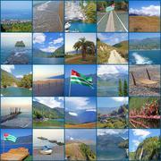 Abkhazia, city of Gagra, Black Sea, mountains. - stock photo