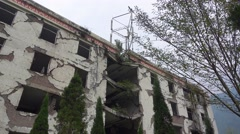 Building ruins in wenchuan National Earthquake Memorial Museum Stock Footage