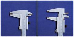 Caliper on a blue background. - stock photo