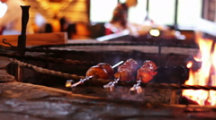 Kebab prepared on the grill in the restaurant Stock Footage
