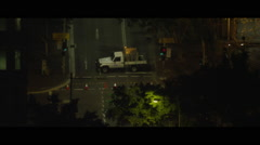 City night streets closed for roadworks with flashing lights - stock footage