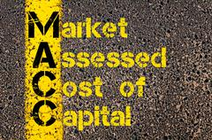 Business Acronym MACC as Market Assessed Cost Of Capital - stock photo