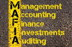 Concept image of Business Acronym MAFIA as Management Accounting Finance Inve Stock Photos