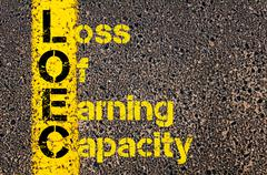 Business Acronym LOEC as Loss Of Earning Capacity - stock photo