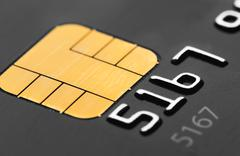 Credit card micro chip - stock photo