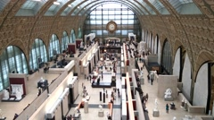 Stock Video Footage of Musee d'Orsay Interior Shot from the Top