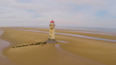 A magnificent aerial shot of the  Point of Ayr lighthouse in Wales. Stock Footage