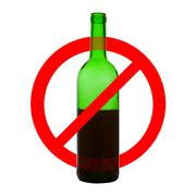 Prohibiting symbol of alcohol drinking - stock photo