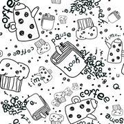 Vector Pattern Coffee Pause - stock illustration