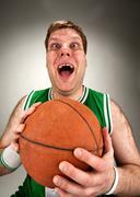 Bizarre basketball player - stock photo