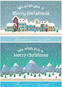 Stock Illustration of Christmas holiday season. Small town in snowfall. Vector illustration flat style